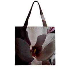 Magnolia Floral Flower Pink White Grocery Tote Bag by yoursparklingshop