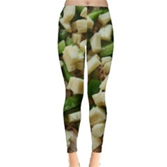 Cheese And Peppers Green Yellow Funny Design Leggings  by yoursparklingshop