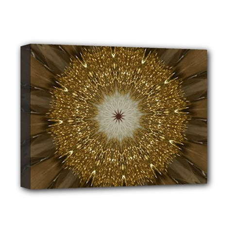 Elegant Festive Golden Brown Kaleidoscope Flower Design Deluxe Canvas 16  X 12   by yoursparklingshop