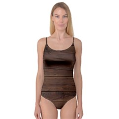 Rustic Dark Brown Wood Wooden Fence Background Elegant Camisole Leotard  by yoursparklingshop