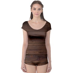 Rustic Dark Brown Wood Wooden Fence Background Elegant Boyleg Leotard  by yoursparklingshop