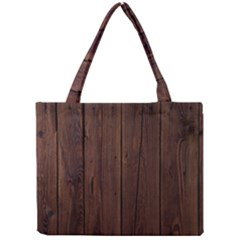 Rustic Dark Brown Wood Wooden Fence Background Elegant Natural Country Style Mini Tote Bag by yoursparklingshop