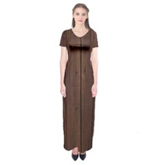 Rustic Dark Brown Wood Wooden Fence Background Elegant Natural Country Style Short Sleeve Maxi Dress by yoursparklingshop