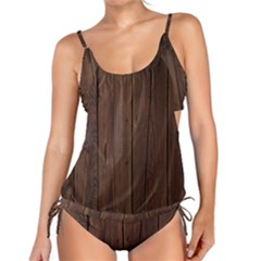 Rustic Dark Brown Wood Wooden Fence Background Elegant Natural Country Style Tankini Set by yoursparklingshop