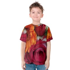 Floral Photography Orange Red Rose Daisy Elegant Flowers Bouquet Kids  Cotton Tee by yoursparklingshop