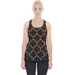 Tile1 Black Marble & Teal Leather (r) Piece Up Tank Top