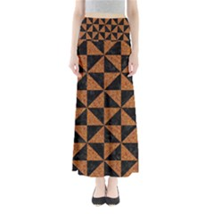 Triangle1 Black Marble & Teal Leather Full Length Maxi Skirt by trendistuff
