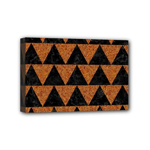 Triangle2 Black Marble & Teal Leather Mini Canvas 6  X 4  by trendistuff