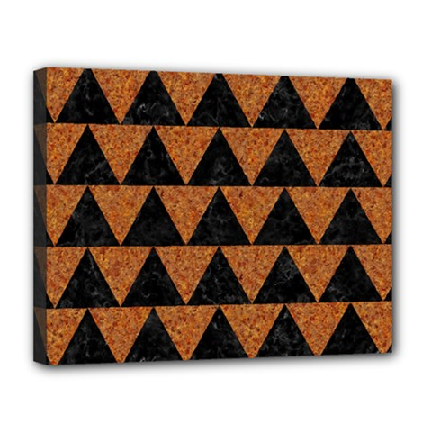 Triangle2 Black Marble & Teal Leather Canvas 14  X 11  by trendistuff