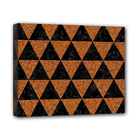 Triangle3 Black Marble & Teal Leather Canvas 10  X 8  by trendistuff