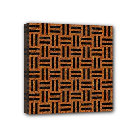 Woven1 Black Marble & Teal Leather Mini Canvas 4  X 4  by trendistuff