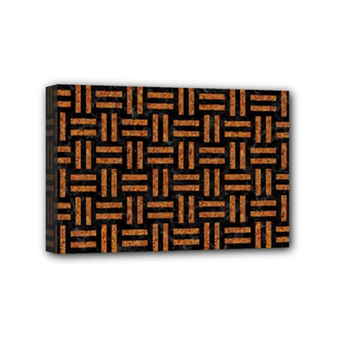 Woven1 Black Marble & Teal Leather (r)	 Mini Canvas 6  X 4  by trendistuff