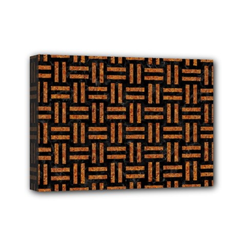 Woven1 Black Marble & Teal Leather (r)	 Mini Canvas 7  X 5  by trendistuff