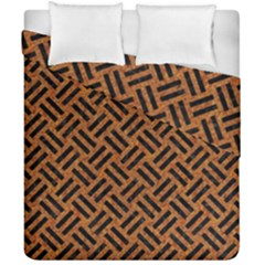 Woven2 Black Marble & Teal Leather Duvet Cover Double Side (california King Size) by trendistuff