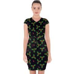 Christmas Pattern Capsleeve Drawstring Dress