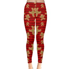 Red & Brown Gingerbread Man Stripes Leggings  by PattyVilleDesigns
