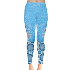 Deep Sky Blue Snowflakes Pattern Leggings  by PattyVilleDesigns