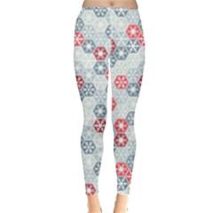 Light Cyan Snowflakes Costume Leggings  by PattyVilleDesigns