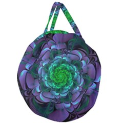 Beautiful Purple & Green Aeonium Arboreum Zwartkop Giant Round Zipper Tote by jayaprime
