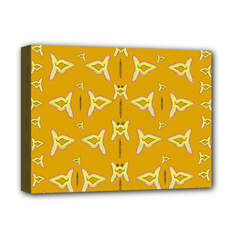 Fishes Talking About Love And   Yellow Stuff Deluxe Canvas 16  X 12   by pepitasart