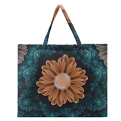 Beautiful Paradise Chrysanthemum Of Orange And Aqua Zipper Large Tote Bag by jayaprime