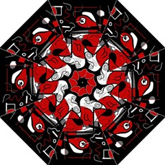 Red Black And White Abstraction Straight Umbrellas by Valentinaart