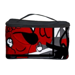 Red Black And White Abstraction Cosmetic Storage Case by Valentinaart