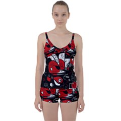 Red Black And White Abstraction Tie Front Two Piece Tankini