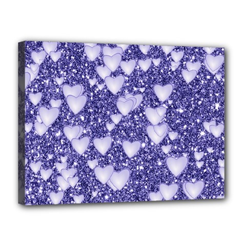 Hearts On Sparkling Glitter Print, Blue Canvas 16  X 12  by MoreColorsinLife