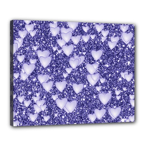 Hearts On Sparkling Glitter Print, Blue Canvas 20  X 16  by MoreColorsinLife