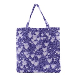 Hearts On Sparkling Glitter Print, Blue Grocery Tote Bag by MoreColorsinLife