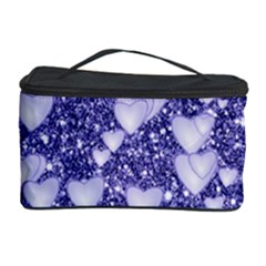 Hearts On Sparkling Glitter Print, Blue Cosmetic Storage Case by MoreColorsinLife