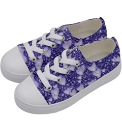 Hearts On Sparkling Glitter Print, Blue Kids  Low Top Canvas Sneakers by MoreColorsinLife