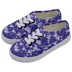 Hearts On Sparkling Glitter Print, Blue Kids  Classic Low Top Sneakers by MoreColorsinLife