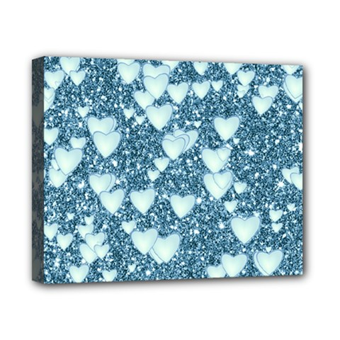 Hearts On Sparkling Glitter Print, Teal Canvas 10  X 8  by MoreColorsinLife