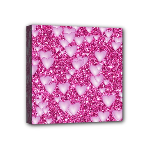 Hearts On Sparkling Glitter Print, Pink Mini Canvas 4  X 4  by MoreColorsinLife