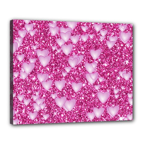 Hearts On Sparkling Glitter Print, Pink Canvas 20  X 16  by MoreColorsinLife