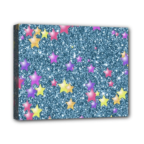Stars On Sparkling Glitter Print, Blue Canvas 10  X 8  by MoreColorsinLife