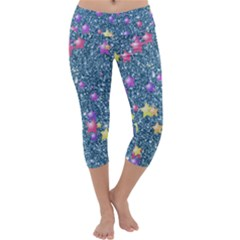 Stars On Sparkling Glitter Print, Blue Capri Yoga Leggings by MoreColorsinLife