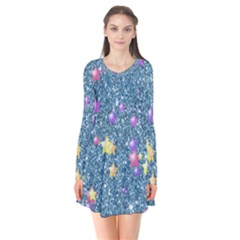 Stars On Sparkling Glitter Print, Blue Flare Dress by MoreColorsinLife
