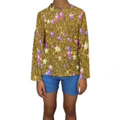 Stars On Sparkling Glitter Print,golden Kids  Long Sleeve Swimwear by MoreColorsinLife