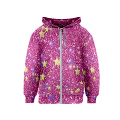 Stars On Sparkling Glitter Print,pink Kids  Zipper Hoodie by MoreColorsinLife