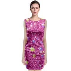 Stars On Sparkling Glitter Print,pink Sleeveless Velvet Midi Dress by MoreColorsinLife