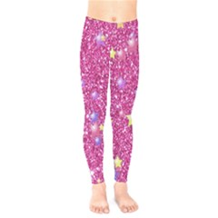 Stars On Sparkling Glitter Print,pink Kids  Legging by MoreColorsinLife