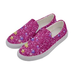 Stars On Sparkling Glitter Print,pink Women s Canvas Slip Ons by MoreColorsinLife