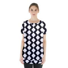 Abstract Tile Pattern Black White Triangle Plaid Skirt Hem Sports Top by Alisyart