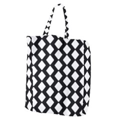 Abstract Tile Pattern Black White Triangle Plaid Giant Grocery Zipper Tote