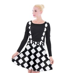 Abstract Tile Pattern Black White Triangle Plaid Suspender Skater Skirt