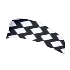 Abstract Tile Pattern Black White Triangle Plaid Stretchable Headband