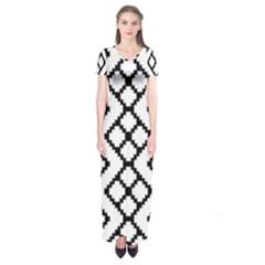 Abstract Tile Pattern Black White Triangle Plaid Chevron Short Sleeve Maxi Dress